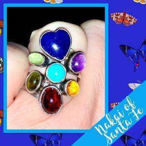 Vintage Native American Nakai Cluster 925 Ring